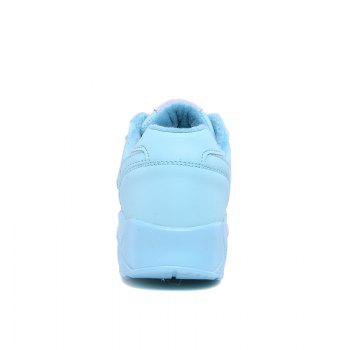Stylish High Top and PU Leather Design Athletic Shoes for Women - BLUE 38