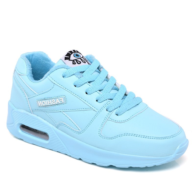 Stylish High Top and PU Leather Design Athletic Shoes for Women - BLUE 36