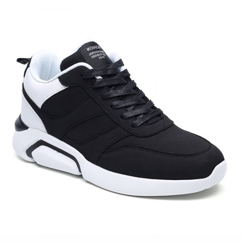 Men Casual Fashion Breathable Lace up Athletic Shoes - BLACK WHITE 44
