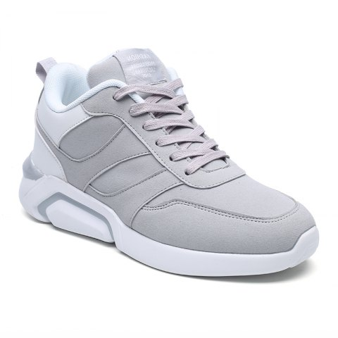 Men Casual Fashion Breathable Lace up Athletic Shoes - WHITE GREY 41