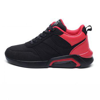 Men Casual Fashion Breathable Lace up Athletic Shoes - BLACK/RED BLACK/RED