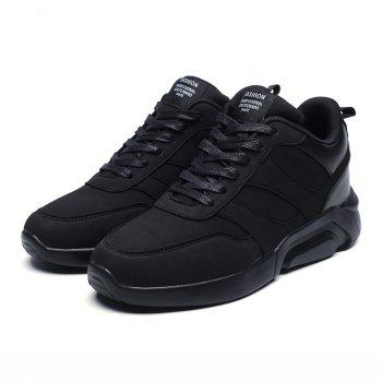 Men Casual Fashion Breathable Lace up Athletic Shoes - BLACK 39