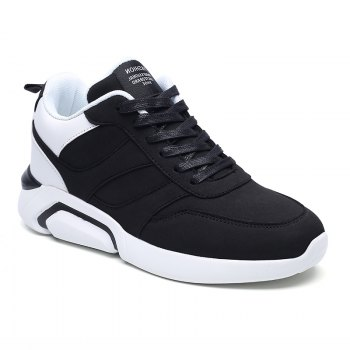 Men Casual Fashion Breathable Lace up Athletic Shoes - BLACK WHITE BLACK WHITE