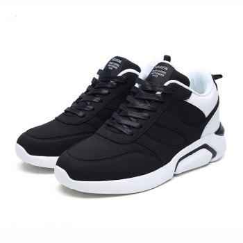 Men Casual Fashion Breathable Lace up Athletic Shoes - BLACK WHITE 42