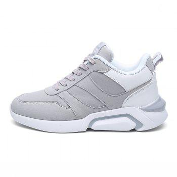 Men Casual Fashion Breathable Lace up Athletic Shoes - WHITE GREY 43