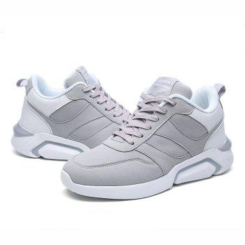 Men Casual Fashion Breathable Lace up Athletic Shoes - WHITE GREY 44