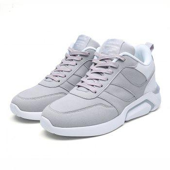 Men Casual Fashion Breathable Lace up Athletic Shoes - WHITE GREY 42