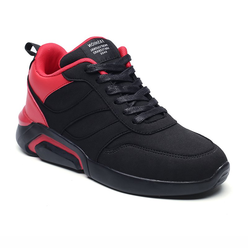 Men Casual Fashion Breathable Lace up Athletic Shoes - BLACK/RED 44