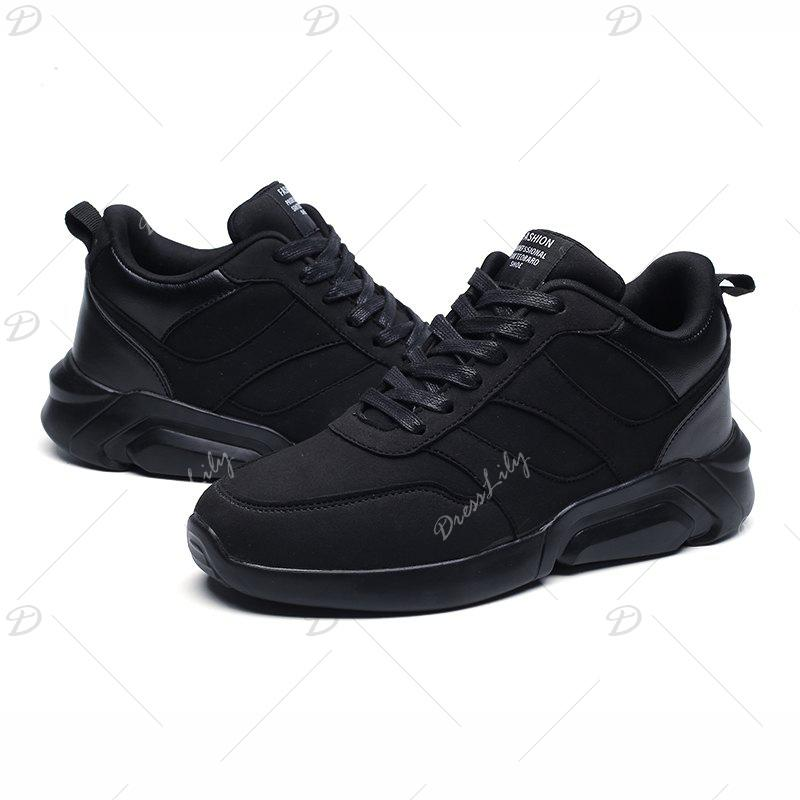 Men Casual Fashion Breathable Lace up Athletic Shoes - BLACK 42