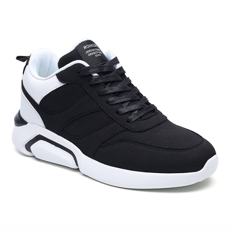 Men Casual Fashion Breathable Lace up Athletic Shoes - BLACK WHITE 39