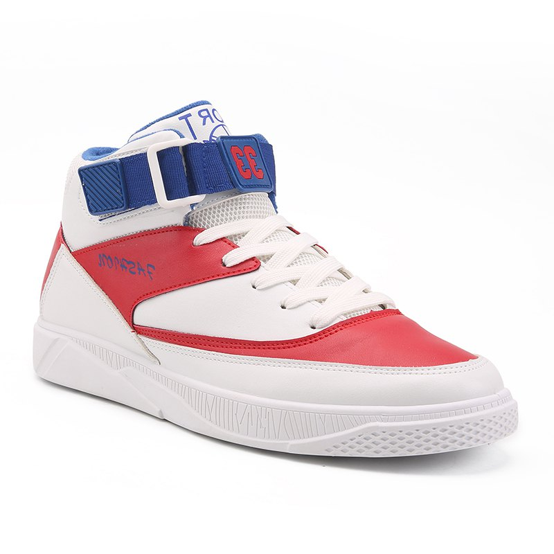 Thick Soled Casual Skateboarding Shoes Men's shoes - WHITE/RED 45