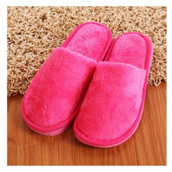 The New Home-Color Lovers Cotton Slippers - ROSE RED ROSE RED