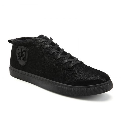 Male Breathable Wearable Lace up Casual Shoes - BLACK 39