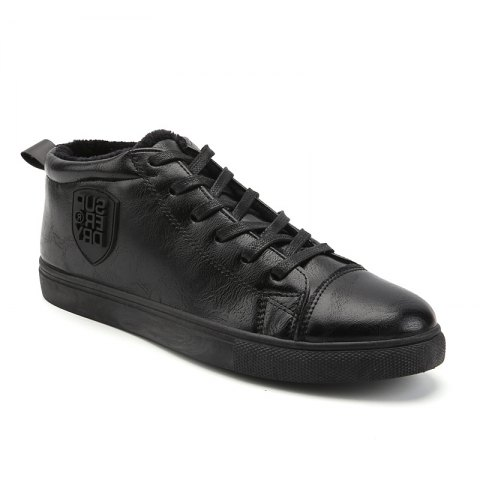 Male Breathable Wearable Lace up Casual Shoes - JET BLACK 44