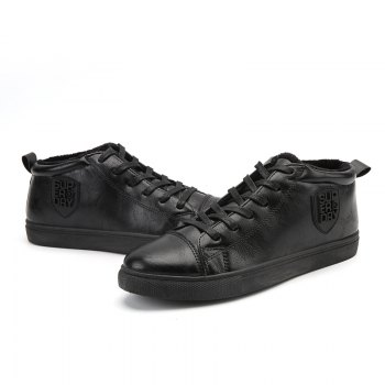 Male Breathable Wearable Lace up Casual Shoes - JET BLACK JET BLACK