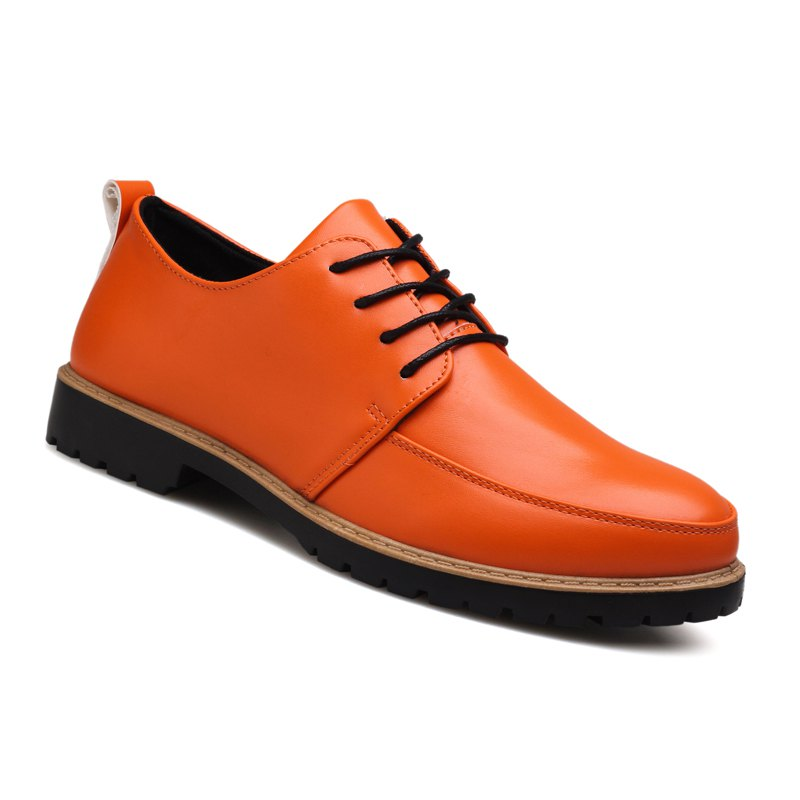 New Casual Leather Shoes for Autumn - ORANGE 39