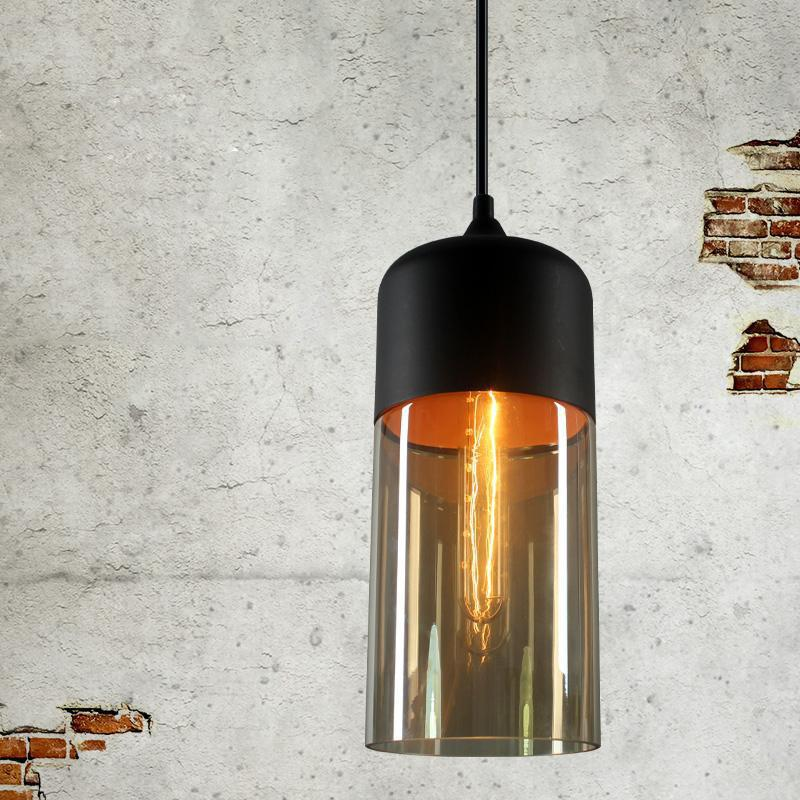 Loft Vintage Industrial Amber Glass Pendant Lamp Fixtures Antique Retro Edison Candy Jar Ceiling Pendant Lights Sha - AMBER US AC110-120V