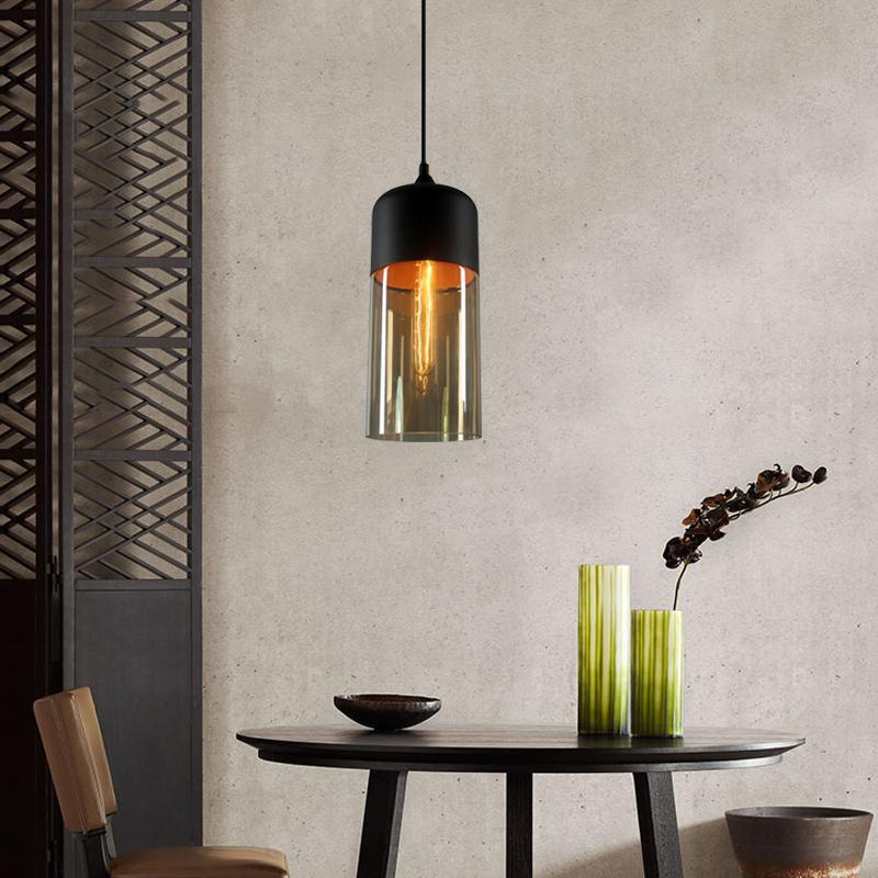 Loft Vintage Industrial Amber Glass Pendant Lamp Fixtures Antique Retro Edison Candy Jar Ceiling Pendant Lights Sha - AMBER EU AC220-240