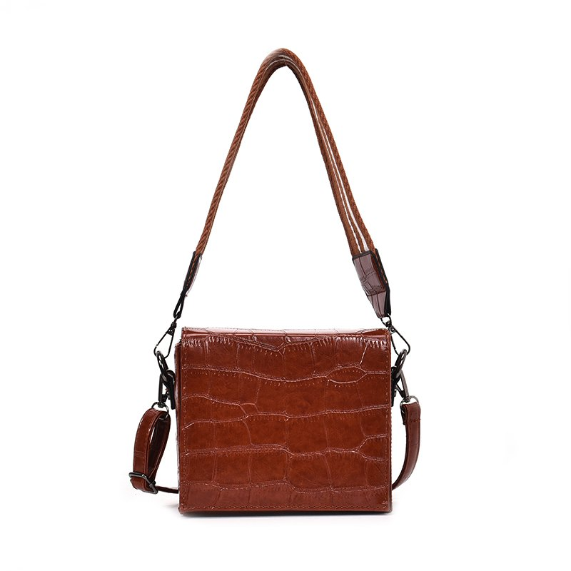 Simple Mode Messenger Bag larges sangles - Brun rouge