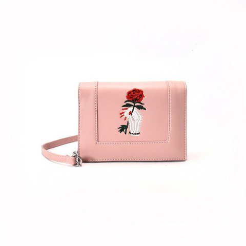 embroidery simple mini messenger bag - PINK