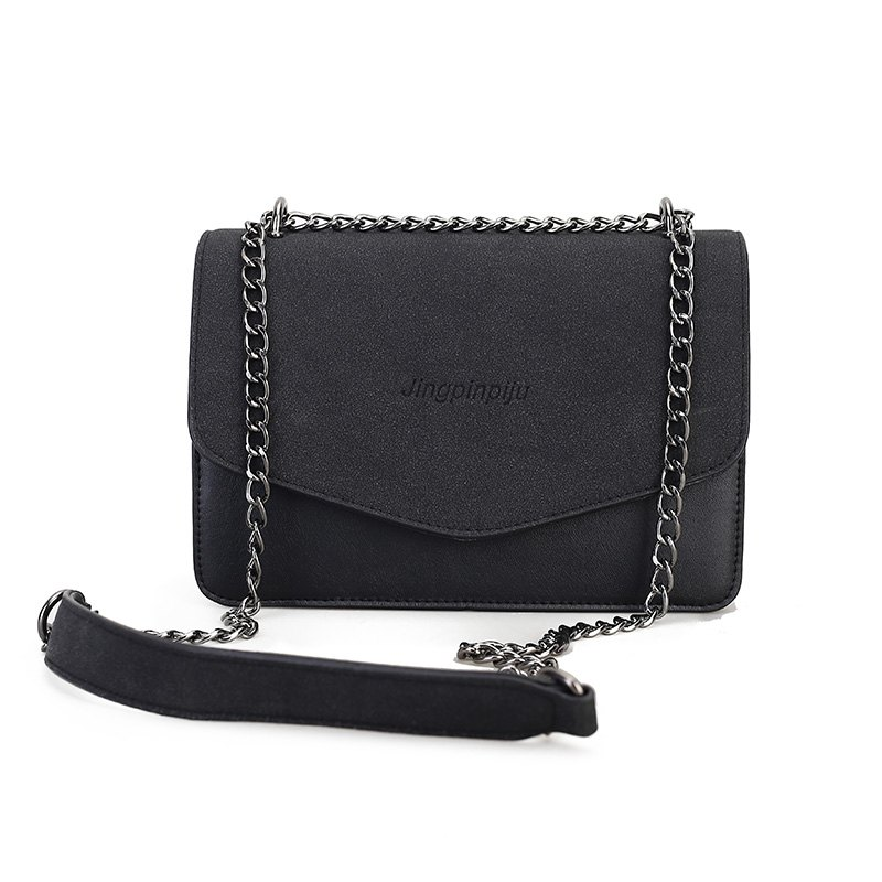 simple Solid Color chain bag for women - BLACK
