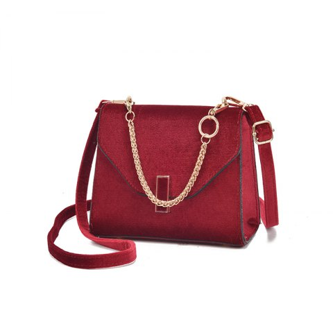 simple  chain decoration handbag for women - RED