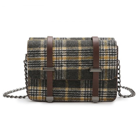 simple check all match messenger bag for women - YELLOW