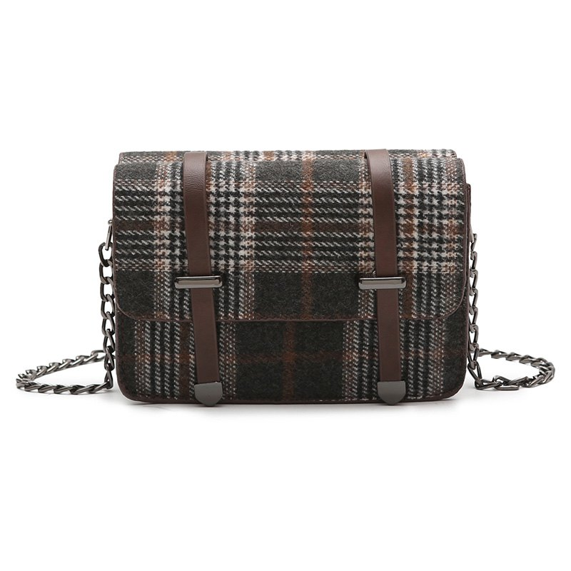 simple check all match messenger bag for women - BLACK