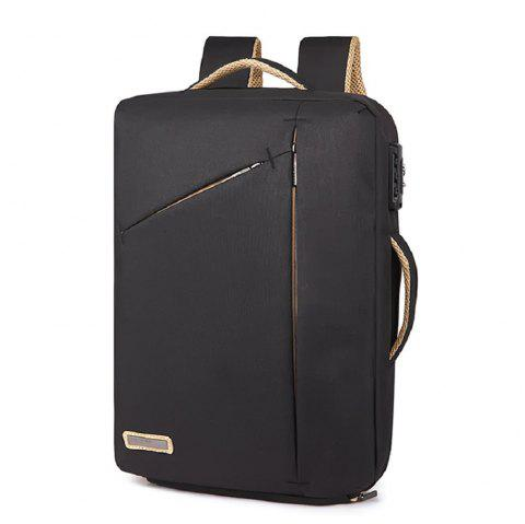 Mens  Waterproof Canvas Coded Lock 15 Inch Backpack Briefcse - BLACK ONE SIZE