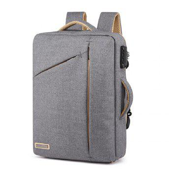 Mens  Waterproof Canvas Coded Lock 15 Inch Backpack Briefcse - GRAY GRAY