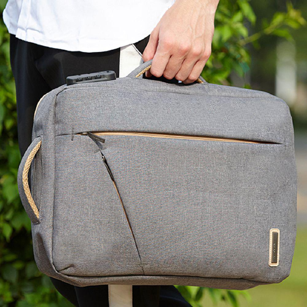 Mens  Waterproof Canvas Coded Lock 15 Inch Backpack Briefcse - GRAY ONE SIZE