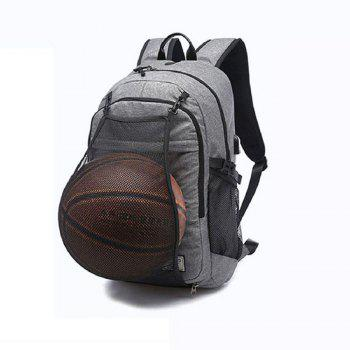 Mens Canvas Basketball Football Backpack 15 Inch Laptop Backpack - GRAY GRAY