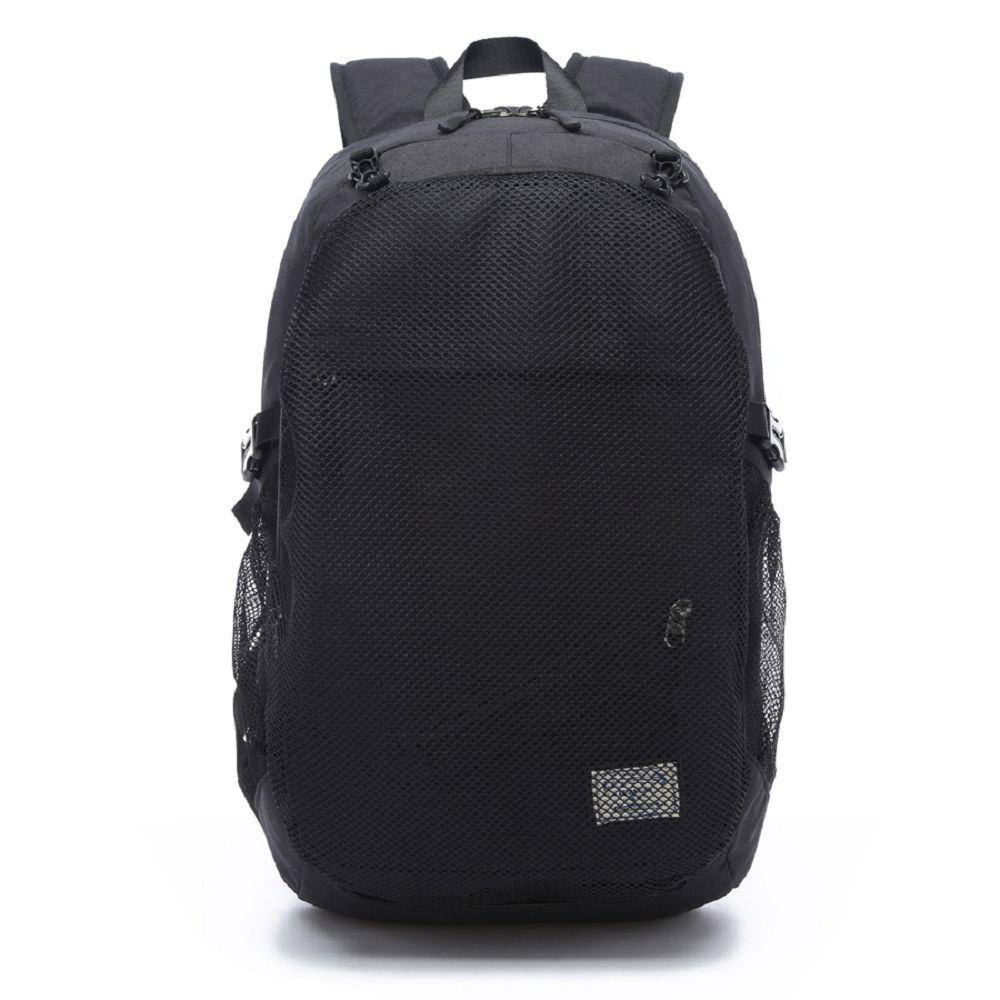 Mens Canvas Basketball Football Backpack 15 Inch Laptop Backpack - BLACK ONE SIZE