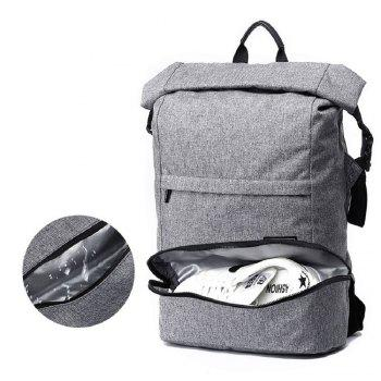 Waterproof Canvas Wet Dry Seperate Travel Bag 15 Inch Backpack - GRAY ONE SIZE