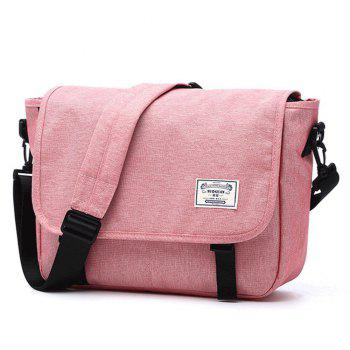 Waterproof Canvas 14 Inch Messenger Bag Corss Body Bag - PINK PINK