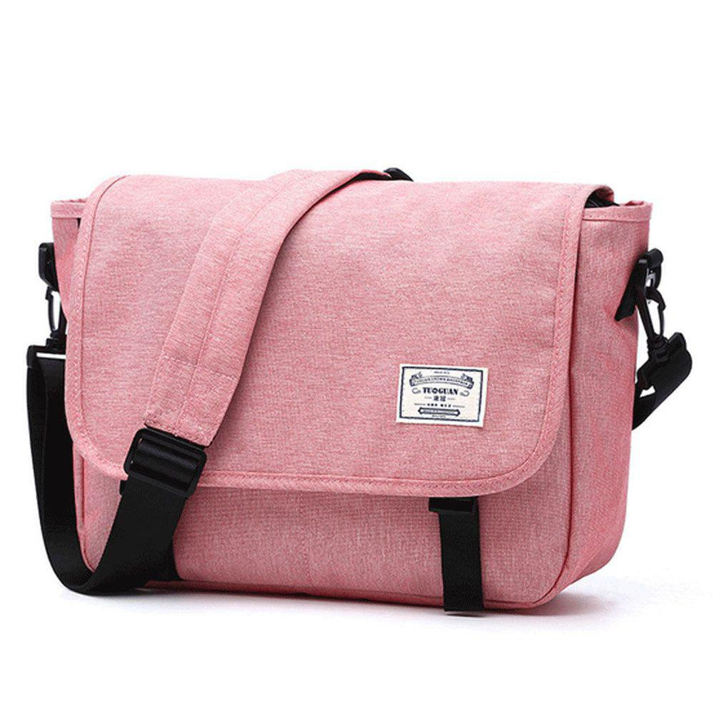 Toile imperméable 14 pouces Messenger Bag Corss Body Bag - ROSE PÂLE ONE SIZE