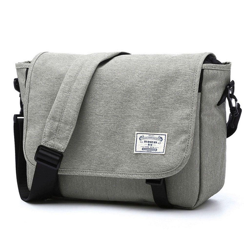 Waterproof Canvas 14 Inch Messenger Bag Corss Body Bag - LIGHT GRAY ONE SIZE
