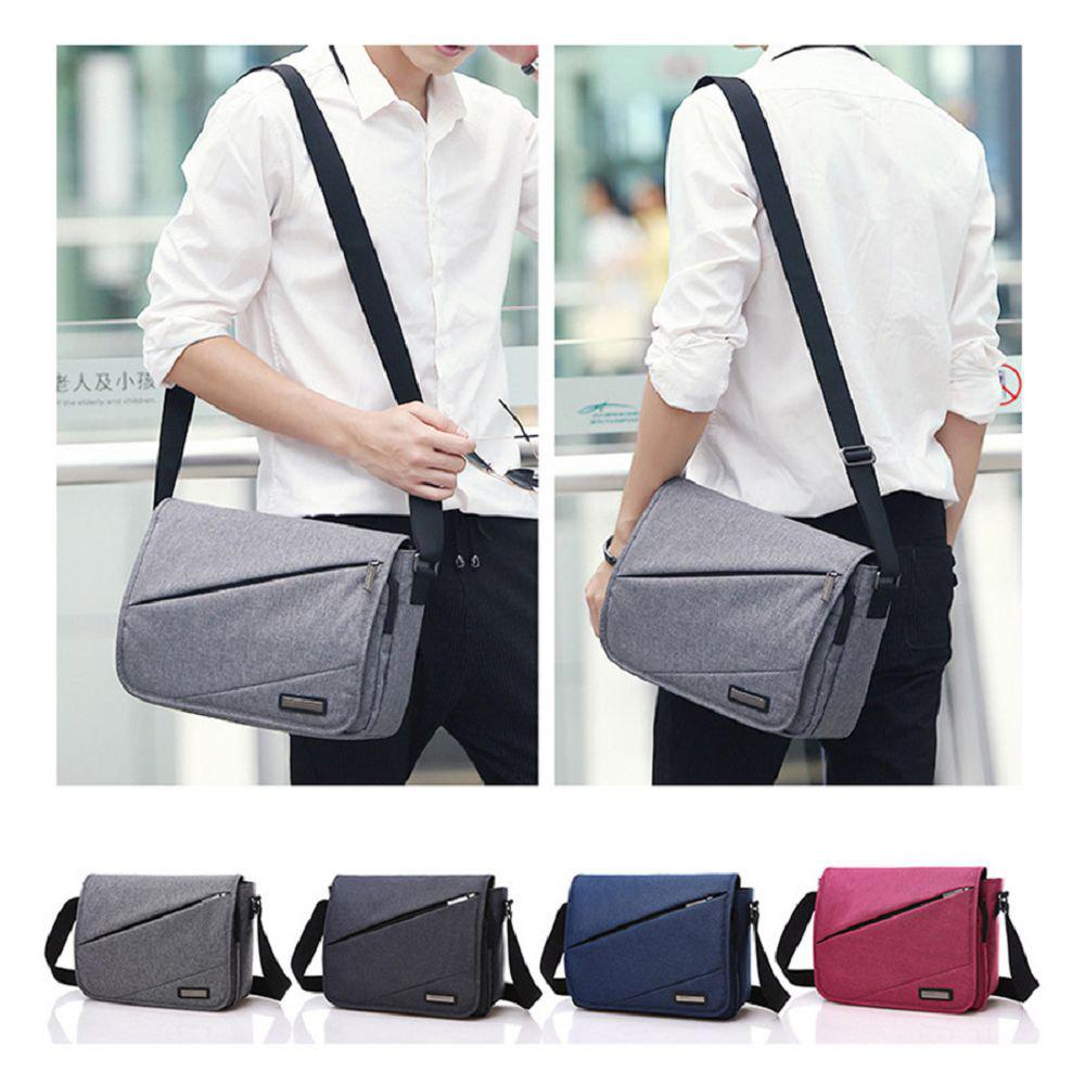Waterproof Canvas 12 Inch Shoulder Bag Messenger Bag - BLUE ONE SIZE