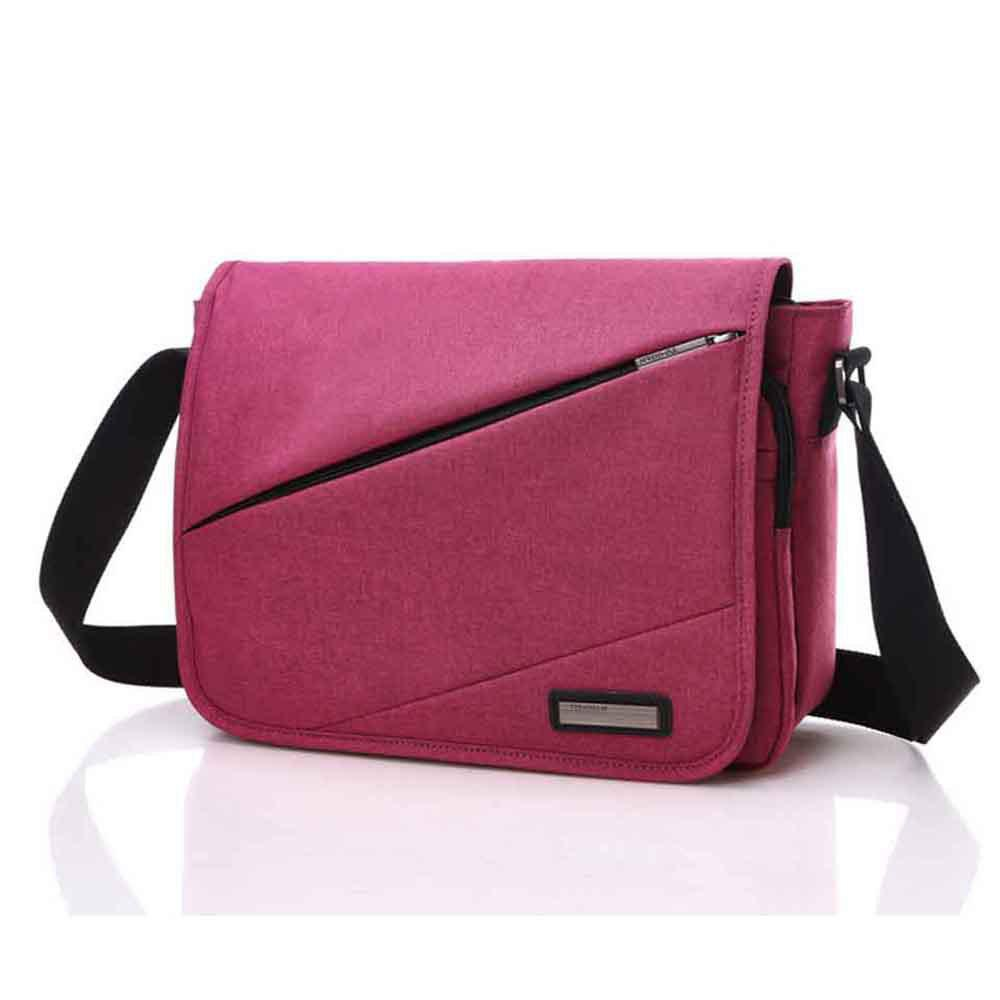 Waterproof Canvas 12 Inch Shoulder Bag Messenger Bag - RED ONE SIZE