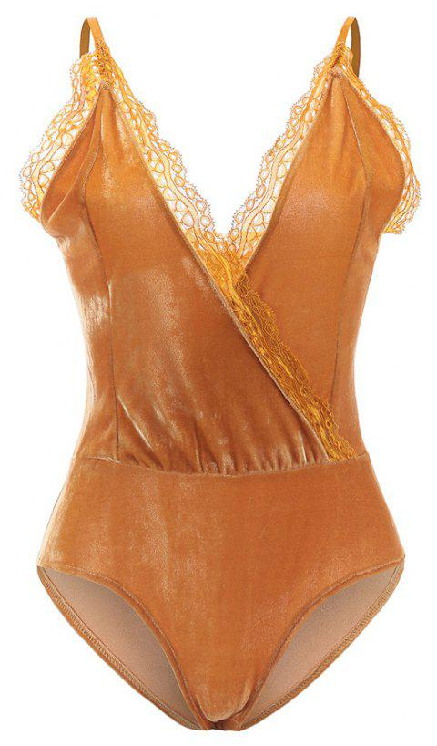 Autumn and Winter Velvet Stitching Lace Sexy V-Neck Halter Conjoined Shorts Female - YELLOW M