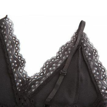 Autumn and Winter Velvet Stitching Lace Sexy V-Neck Halter Conjoined Shorts Female - BLACK BLACK