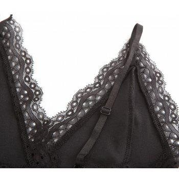 Autumn and Winter Velvet Stitching Lace Sexy V-Neck Halter Conjoined Shorts Female - BLACK L