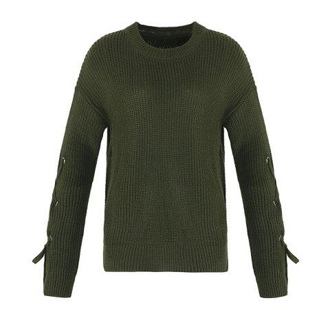 Autumn and Winter Round Neck Long Sleeve Cufflinks Loose Wild Sweater - ARMYGREEN ONE SIZE(FIT SIZE XS TO M)