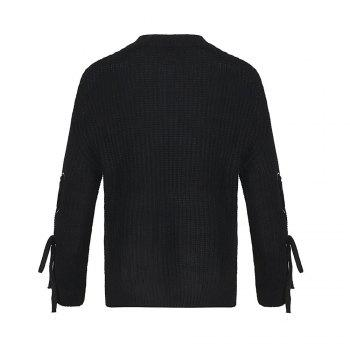 Autumn and Winter Round Neck Long Sleeve Cufflinks Loose Wild Sweater - BLACK ONE SIZE(FIT SIZE XS TO M)