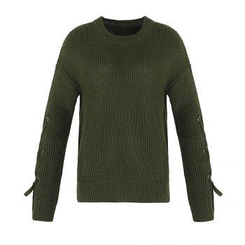 Autumn and Winter Round Neck Long Sleeve Cufflinks Loose Wild Sweater - ARMYGREEN ARMYGREEN