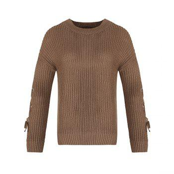Autumn and Winter Round Neck Long Sleeve Cufflinks Loose Wild Sweater - EARTHY EARTHY