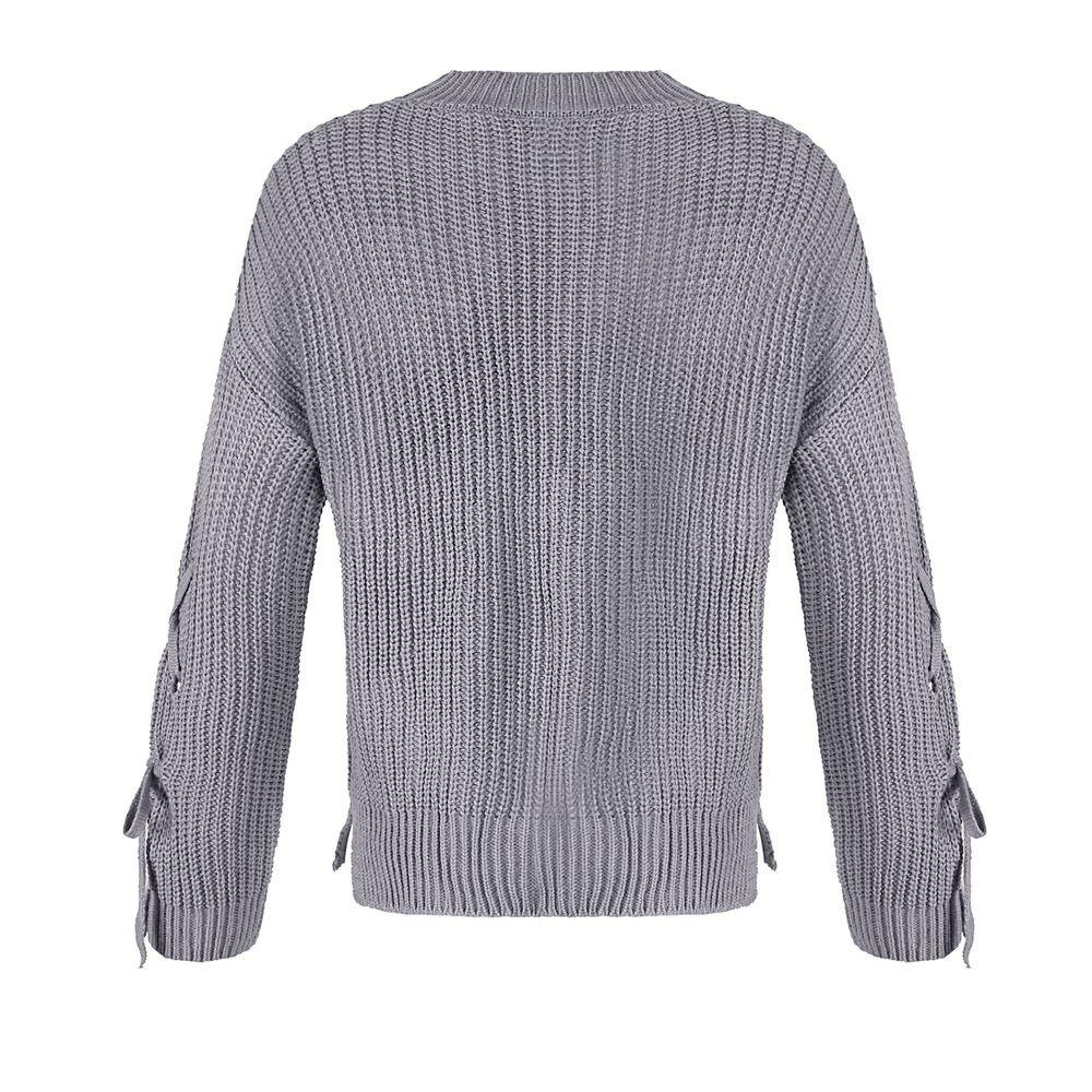 Autumn and Winter Round Neck Long Sleeve Cufflinks Loose Wild Sweater - GRAY ONE SIZE(FIT SIZE XS TO M)