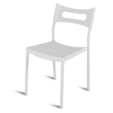 Simple Backrest Chair, White Plastic Chair With Carbon Steel Stool Legs - WHITE