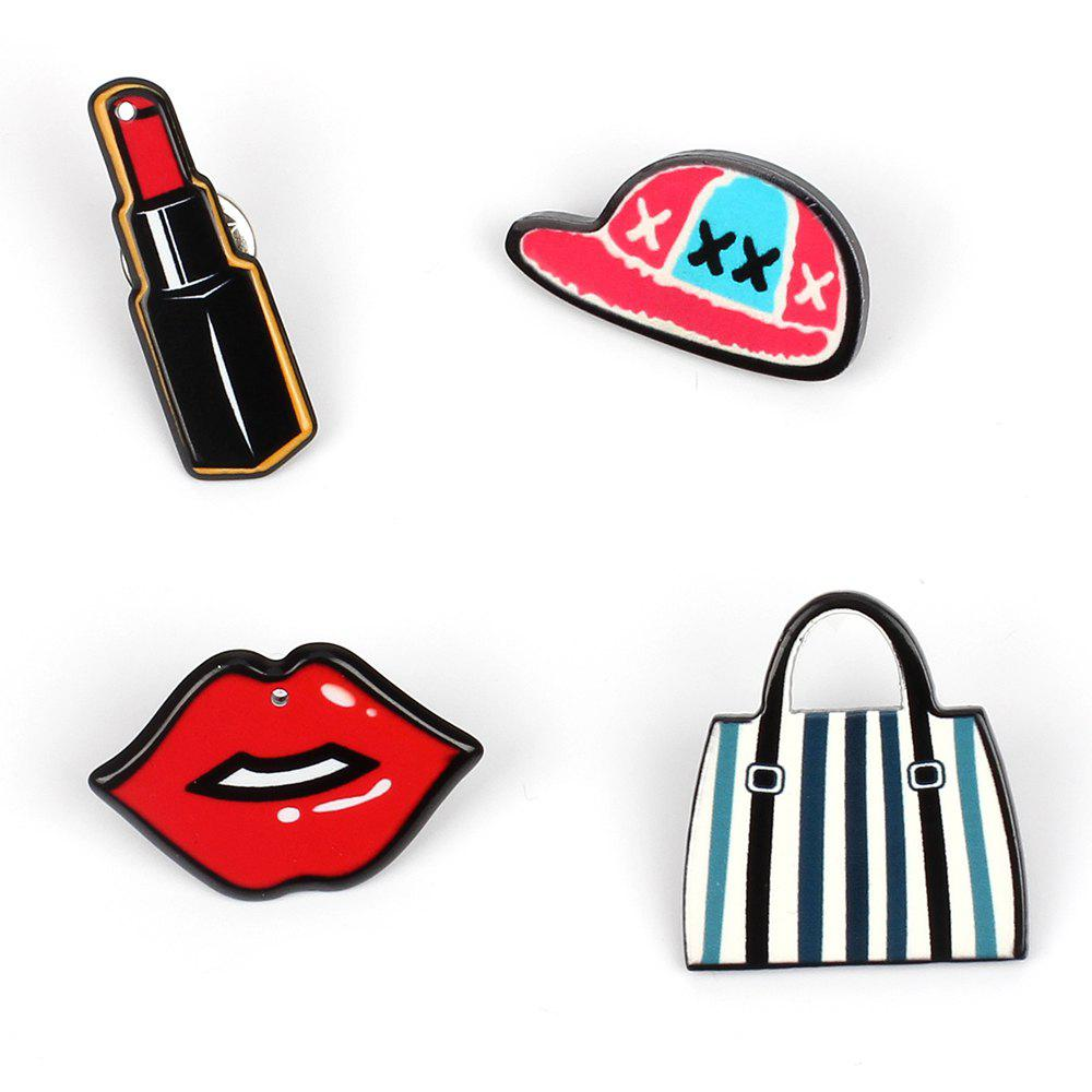 Girl Decorations Brooch Set Lipstick Lip Hat Bag Jewelry - COLORMIX