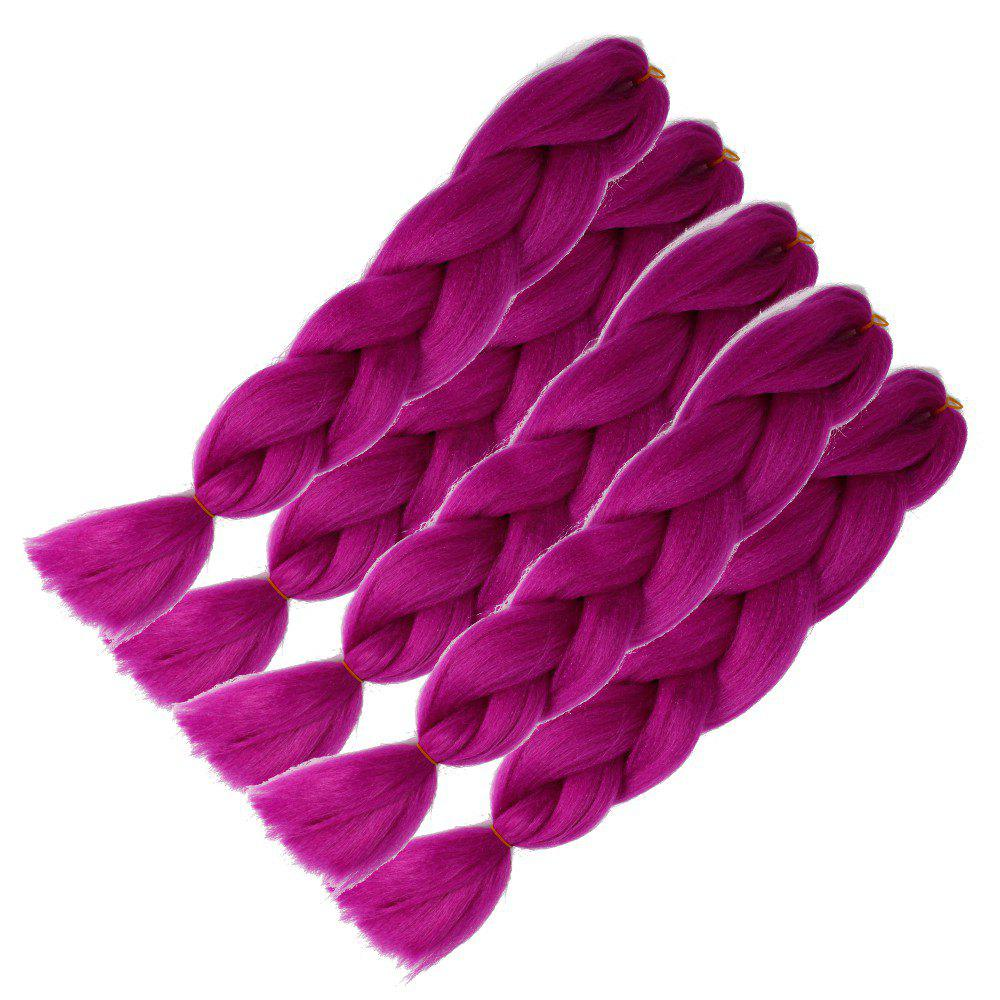 5pcs 1 Tone Ombre Jumbo Braiding Hair Extensions 24 inch Crochet Braids Kanekalon Synthetic Fiber Twist - PURPLE 24INCH*24INCH*24INCH*24INCH*24INCH